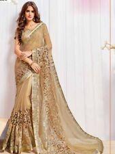 Indian Beige Net Designer Zari Border Work Bollywood Style Sari Party Wear Saree