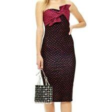 NWT Topshop Bow Twist Black & Burgundy Print Strapless Midi Dress Size 8