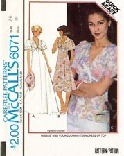1970's VTG McCall's Junior Dress or Top Pattern 6071 Size 7-8 UNCUT