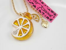 Betsey Johnson Cute inlay Crystal Lemon Pendant Necklace # F181A