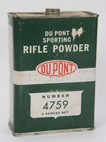 Vintage Dupont 4759 Smokeless Sporting Rifle Gun Powder Tin 8 ounce Empty VGC