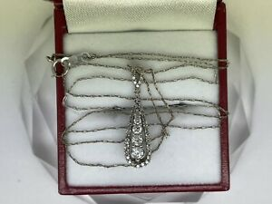 """.41CTTW Teardrop Natural diamond 10kt White Gold Necklace. VS1-SI1 F-G Color 20"""""""