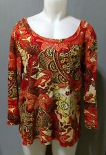 Chico's - ladies red orange colorful 3-4 sleeve cotton sweater w bling - 3 (XL)