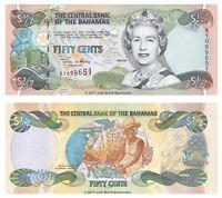 Bahamas 1/2 Dollar 50 Cents 2001 QEII  P-68 Banknotes UNC