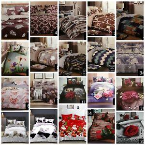 Bettwäsche Baumwolle 4 - 5 teilig Reißverschluss Bettbezug 160x200 200x220 3D