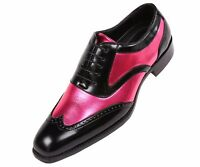 Bolano Mens Classic Two Tone Fuchsia Metallic & Black Wingtip: Oxford Lawson-003