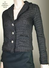 BEAUTIFUL Jacket SIZE MEDIUM BLACK Tweed Knit Metallic FRINGE Blazer LBCUSA