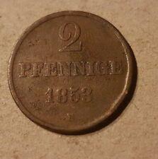 2 Pennies 1853 B UK Hanover conservation