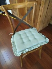 4 1980s Vintage Grandma Attic Boho Chic Ruffled Blue Chair Cushion Seat Covers