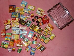 LARGE BUNDLE PLAY FOOD WITH 9 X 4 X 5 INCH STEEL SHOPPING BASKET