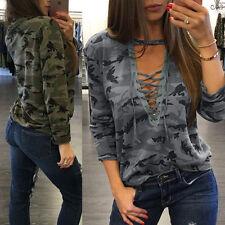 Sexy Womens Long Sleeve Lace Up Camo Shirt Casual Blouse Tops Loose T Shirt UK