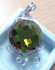 Sterling Silver Green AAA Round Cut Zircon Pendant Necklace.