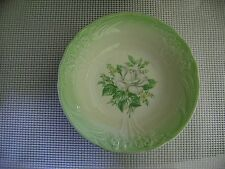 vtg bowl CROWN POTTERIES Co. serving vegetable green white rose USA 853 pottery