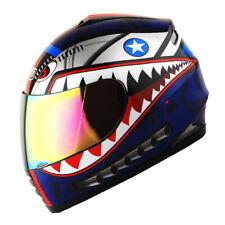 DOT Motorcycle Youth Full Face Helmet Kids Bike Shark Marine Shark Blue