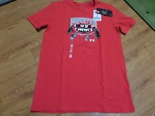 bnwt boys short sleeve under armour shirt-size ylg-loose fit red-monster mode