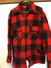 MW2 Vintage Winter King Mens Red/Black Wool Full Zip Up Jacket w/Pockets