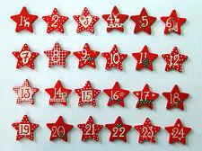 Holzsterne - ROT - mit Zahlen 1 bis 24 für Adventskalender, Weihnachts - Deko