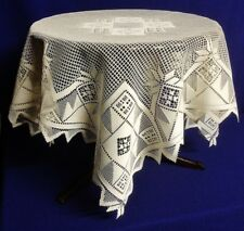 """Country Quilt Ivory/Cream 40"""" X 40"""" Lace Table Topper Factory IRREG."""