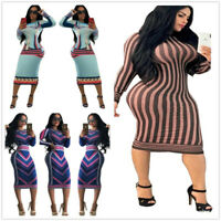Women's crew collar long sleeves printed bodycon knee length dress casual party