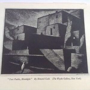 1930s Woodcut Print Taos Pueblo, Moonlight by Howard Cook