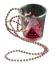 12 HEN PARTY Bride to be Girls Night Out Shot Glass Necklace Chain Pink & Black