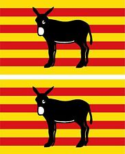 Set of 2x sticker decal car bike bumper macbook laptop catalan donkey flag