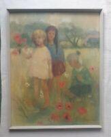 Phyllis Purser 1893-1989 rare painting large signed original - Picking Flowers