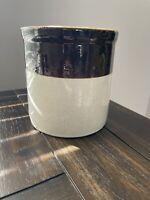 Primitive Vintage Antique Dark Brown Color Blocked Small Stoneware Crock