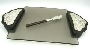 """Wood & 950 Sterling Silver Handle Applique & Knife Glass Cheese Serving Tray 13"""""""