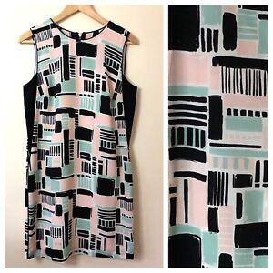 Stunning Oliver Bonas Shift Dress Size 8 Smart Crepe Pastel Black Pink Work Arty