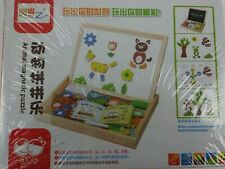 REVERSIBLE Magnetic Animal Puzzle SLATE, Wooden Box 3+ Boys Girls Gifts for kids