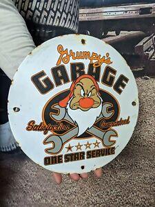 OLD VINTAGE SUNOCO GRUMPY'S GARAGE PORCELAIN GAS STATION GASOLINE SIGN! SERVICE