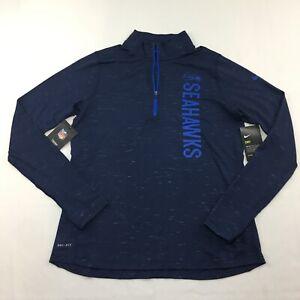Nike Seattle Seahawks Dri Fit Long Sleeve 1/4 Zip Pull Over Women's Size L Black