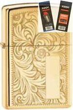 Zippo 352b venetian hp brass Lighter with *FLINT & WICK GIFT SET*