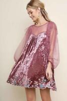 Velvet Pink Polka Dot Lace Embroidered Floral Elegant Party 293 mv Dress S M L