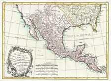 1771 Bonne Map of Mexico (Texas), Louisiana and Florida