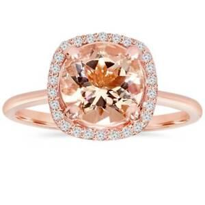 1 3/4Ct Morganite & Diamond Cushion Halo 14K Rose Gold Engagement Ring