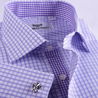 Purple Double Plaid Mens Clothing Formal Business Shirt Checkered Boss Fashion