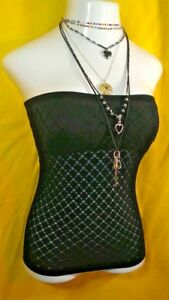 WALLFLOWER Strapless Black Lace Bandeau Slimming Top w/ Bra  S/M  NWT $38.