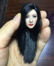 "1/6 Scale Head Sculpt Carving Long Black Straight Hair For 12"" Female Figure Toy"