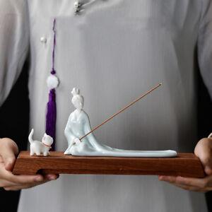porcelain lady cat wood base holder creative tea pet incense burner beauty China