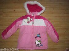 NEW☀ HELLO KITTY PUFFER JACKET COAT TOP Girls 6X WINTER WHITE PINK $75 Retail