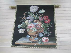 Corona Decor Wall Tapestry Black Floral Basket of Flowers