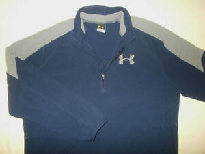 UNDER ARMOUR 1/2 ZIP LONG SLEEVE NAVY BLUE FLEECE PULLOVER MENS LARGE EXCELLENT