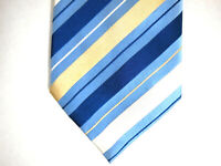 Donald J Trump Mens Necktie Tie Blue White Gold Striped 100% Silk 59""