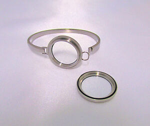 316L Stainless Steel Waterproof Floating Glass Locket Bangle Bracelet 7 Inches