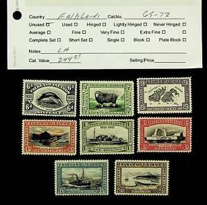 FALKLAND ISLANDS ANIMAL MAP SHIP 8v LH MINT STAMPS SC#69-72 CV $244.25