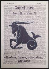 Capricornio Zodiaco Signo Vintage Diccionario Página Impreso imágenes arte mural