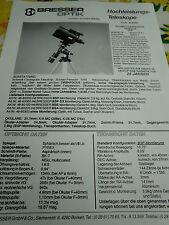 RAR,Prospekt,Beschreibung,BRESSER Optik,Schmidt-Cassegrain Teleskop,Mizar,um1985