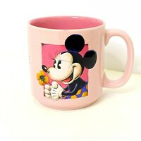 Vintage Disney Minnie Mouse Coffee Cup Mug 10oz Minnie Holding Flower Pink